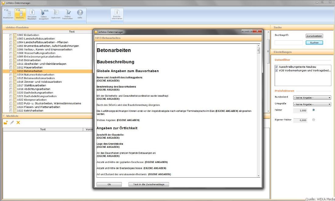 Bau Ausschreibung Vergabe Ava Software Muster Lv